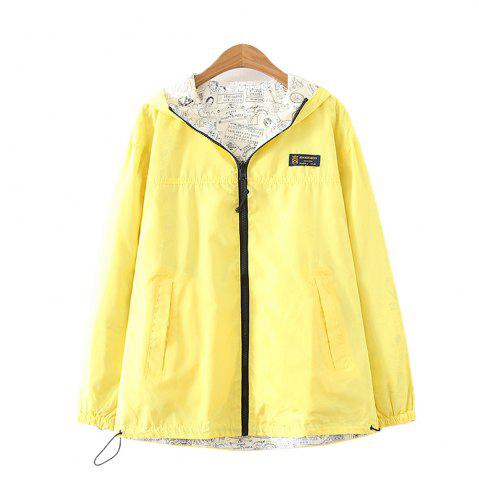 Shop Women's Jacket Long Sleeve Hooded Solid Color Zippered Outwear