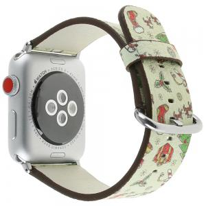 42mm Genuine Leather Replacement for iWatch Series 3/2/1 Beautiful Beautiful Christmas -