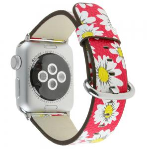 For 42MM iWatch Series 3/2/1 Chrysanthemum Pattern Genuine leather Strap Flower Design Wrist Watch Bracelet -