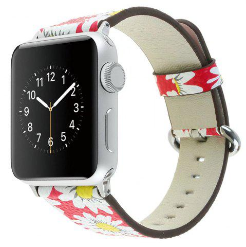 Hot For 42MM iWatch Series 3/2/1 Chrysanthemum Pattern Genuine leather Strap Flower Design Wrist Watch Bracelet