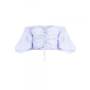 Women'S Blue Striped Strapless Lantern Sleeve Shirt -