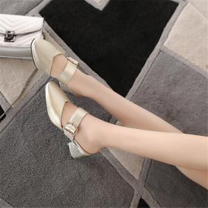 Miss Shoe BK599 Thick and Square Hollow Single Shoes -