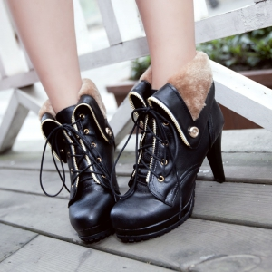 Miss Shoe BK715 High Heels with Round Head Waterproof Platform Lapel Boots -