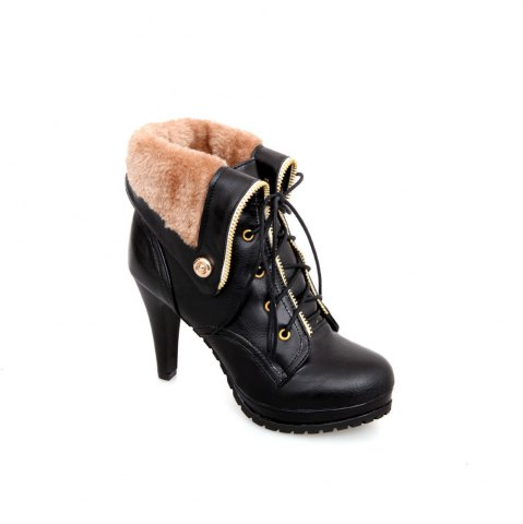 Buy Miss Shoe BK715 High Heels with Round Head Waterproof Platform Lapel Boots