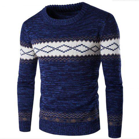 Latest Men's Daily Going out Holiday Casual Regular Pullover Color Block Round Neck Long Sleeves Wool Winter FallThick Sweater
