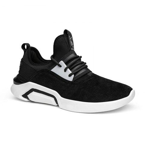 Fancy Four Seasons Pigskin Rubber Sole Sports Running Shoes