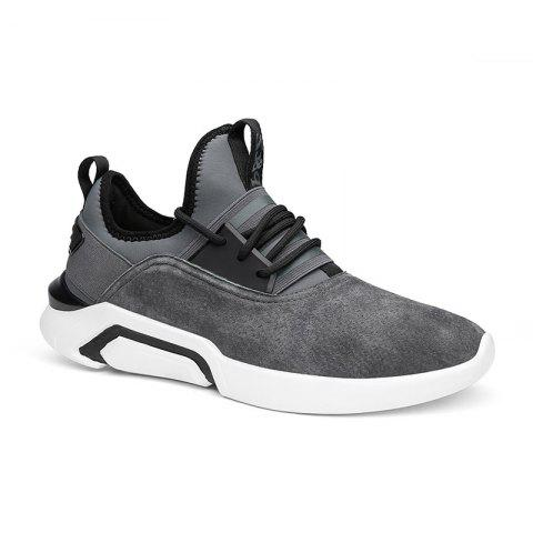 Trendy Four Seasons Pigskin Rubber Sole Sports Running Shoes