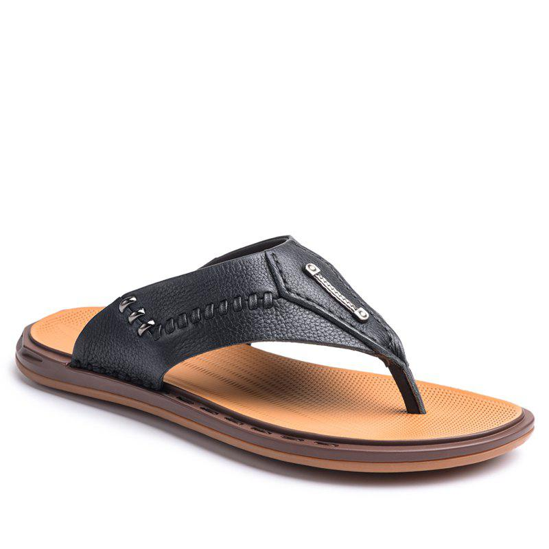 Fancy Street Fashion Cowhide Men Flip Flops