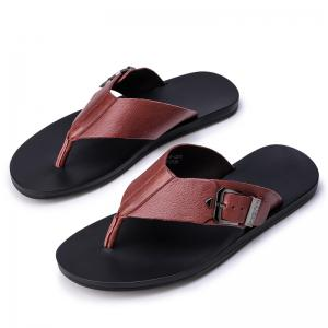 Summer Men'S Leather Slippers Sandals Good Quality Outdoor Leather Slippers -