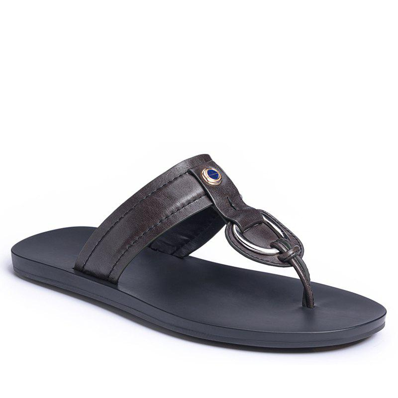 Store Hot Summer Leisure Leather Sandals Breathable Men Flip-Flops with Antiskid Soft Bottom Flip-Flop for Men
