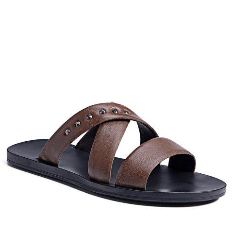 Trendy Hot Sale Outdoor Comfortable Fashion Beach Slippers Soft Upper Leather Men Sandals