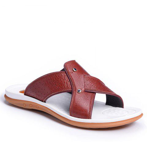 Shops 2017 Summer Men'S Leather Slippers Sandals Good Quality Outdoor Leather Slippers