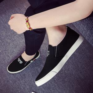 Men's Sneakers Canvas Shoes Slip Ons Casual Letter Designed Durable Fancy Comfy Loafers -