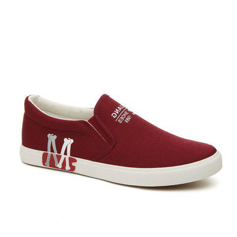 Trendy Men's Sneakers Canvas Shoes Slip Ons Casual Letter Designed Durable Fancy Comfy Loafers