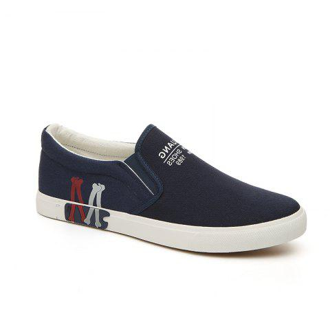 Chic Men's Sneakers Canvas Shoes Slip Ons Casual Letter Designed Durable Fancy Comfy Loafers
