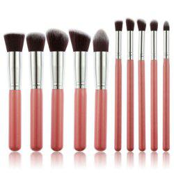 10 Make Up Cosmetics Bamboo Handle Soft Synthetic Hair Suit -