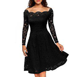 Women'S Vintage Floral Lace Long Sleeve Boat Neck Cocktail Formal Swing Dress -
