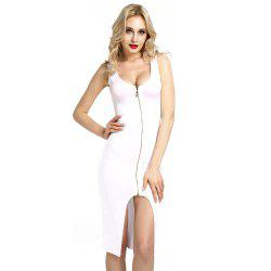 Womens Elegant Front Zip Up Contrast Work Business Cocktail Party Sheath Dress -