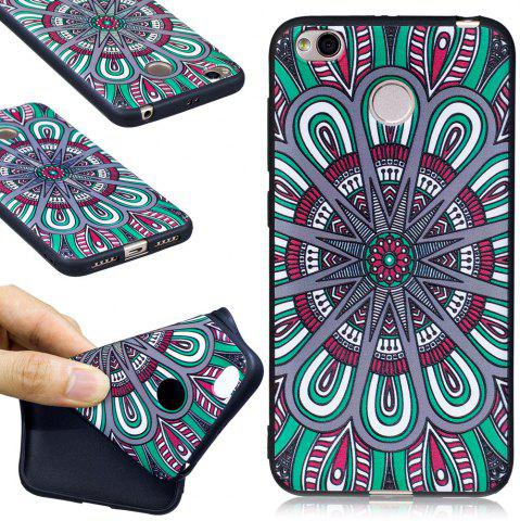 Trendy Relief Silicone Case for Xiaomi Redmi 4X Mandala Pattern Soft TPU Protective Back Cover