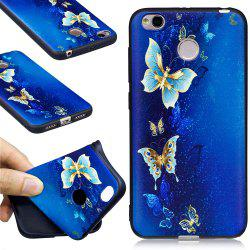 Relief Silicone Case for Xiaomi Redmi 4X Golden Butterfly Pattern Soft TPU Protective Back Cover -