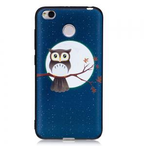 Relief Silicone Case for Xiaomi Redmi 4X Moon and Owl Pattern Soft TPU Protective Back Cover -