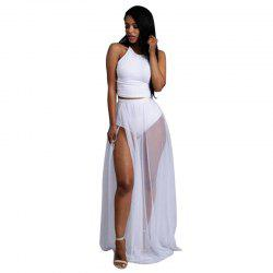 Women'S Summer Fashion Sexy Elegant Perspective Vest Half-Length Skirt Split  Suit -