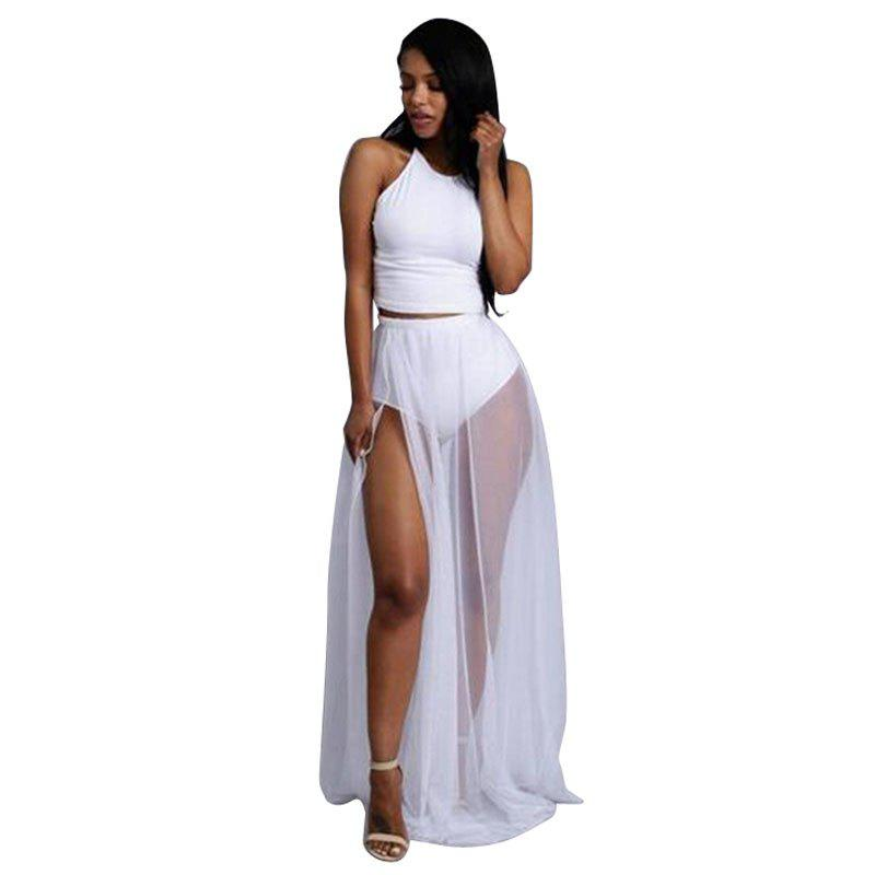Fashion Women'S Summer Fashion Sexy Elegant Perspective Vest Half-Length Skirt Split  Suit