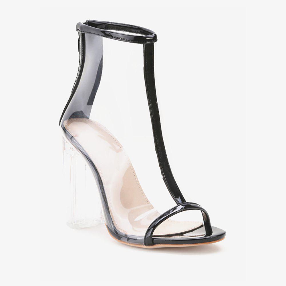 Buy Contrast Trim Peep Toe Clear Chunky Heels