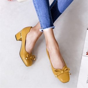 Miss Shoes BK7601 Square Thick with Shallow Single Shoes -