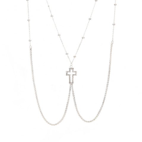 Best European and American new minimalist series body chain cross diamond alloy necklace