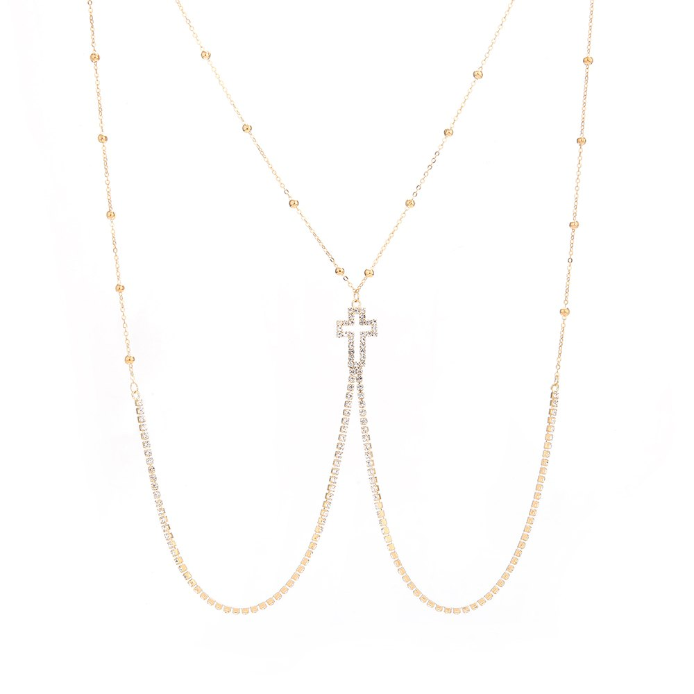 Shops European and American new minimalist series body chain cross diamond alloy necklace