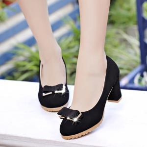 Summer New Female Round Head with Rough Work and Thin Single Shoe -