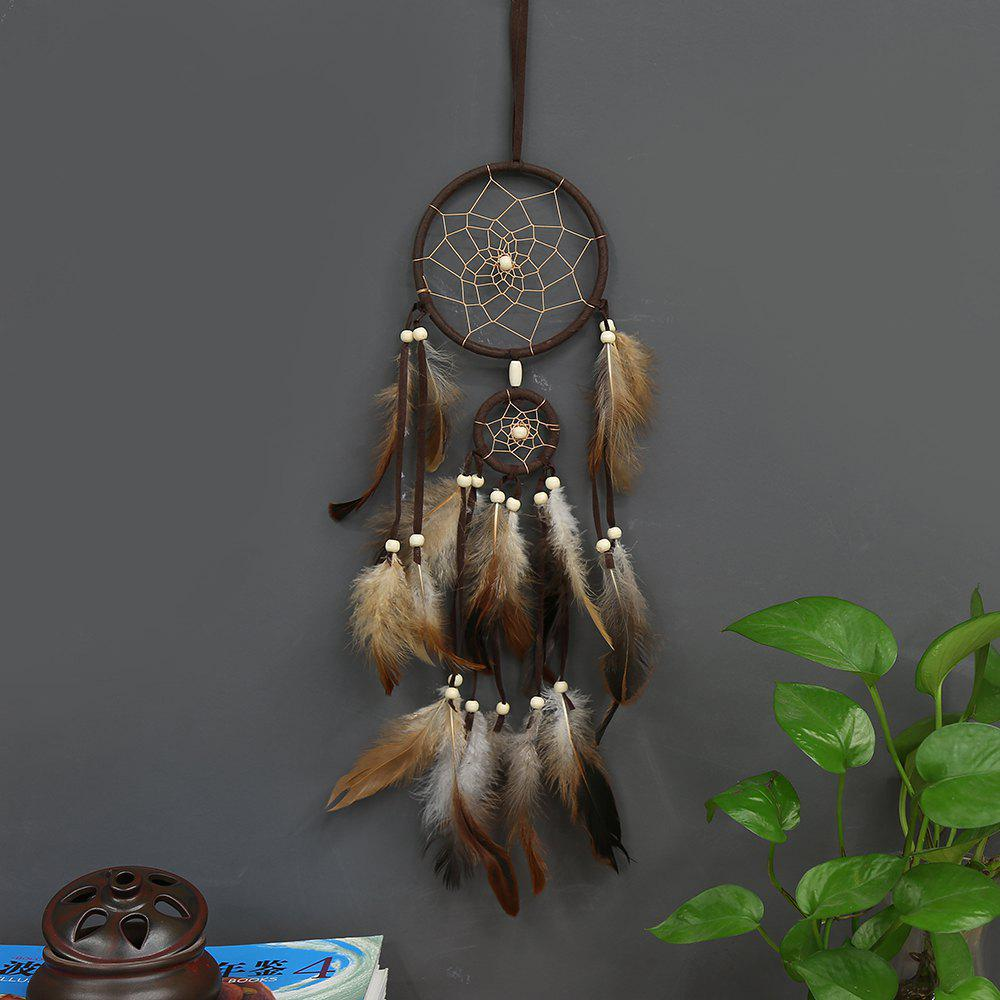 Sale Indian Style Brown Dream Catcher Feathers Core Bead Dreamcatcher for Wall Car Decoration