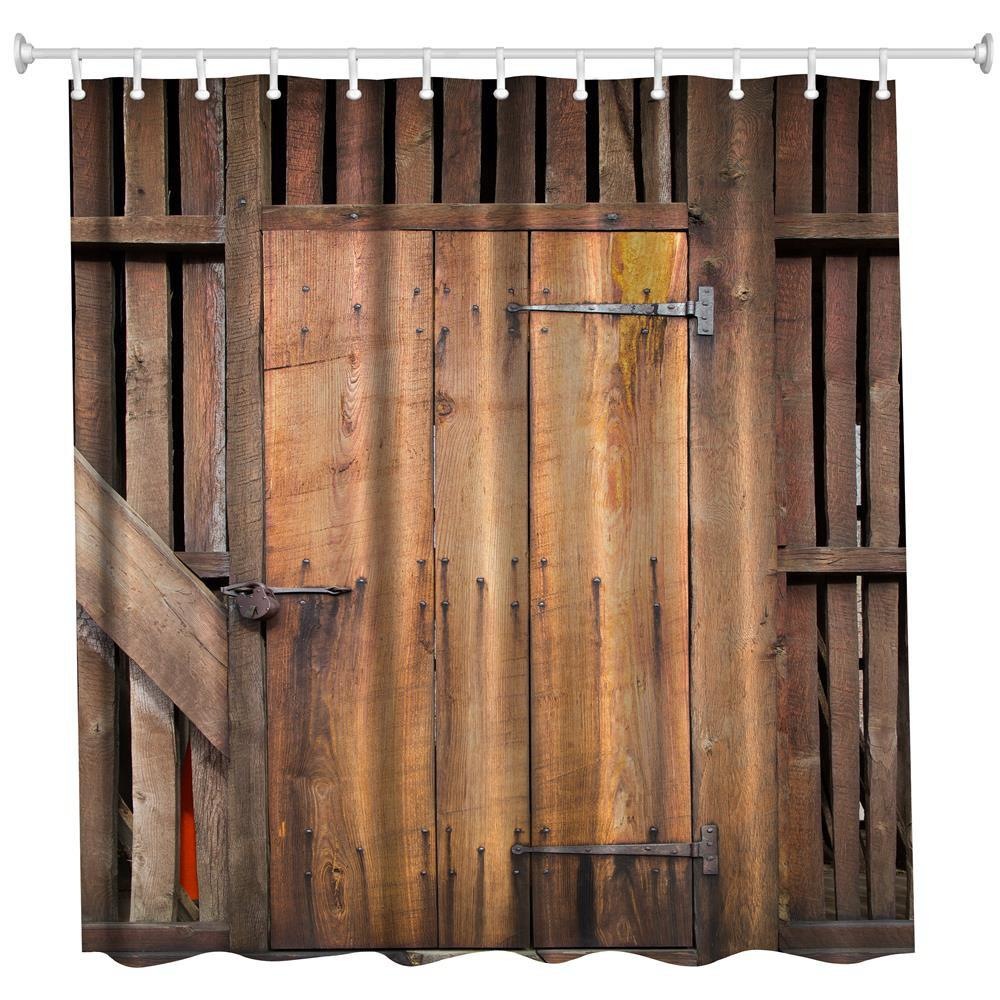 Fashion The Barn Doors Polyester Shower Curtain Bathroom High Definition 3D Printing Water Proof