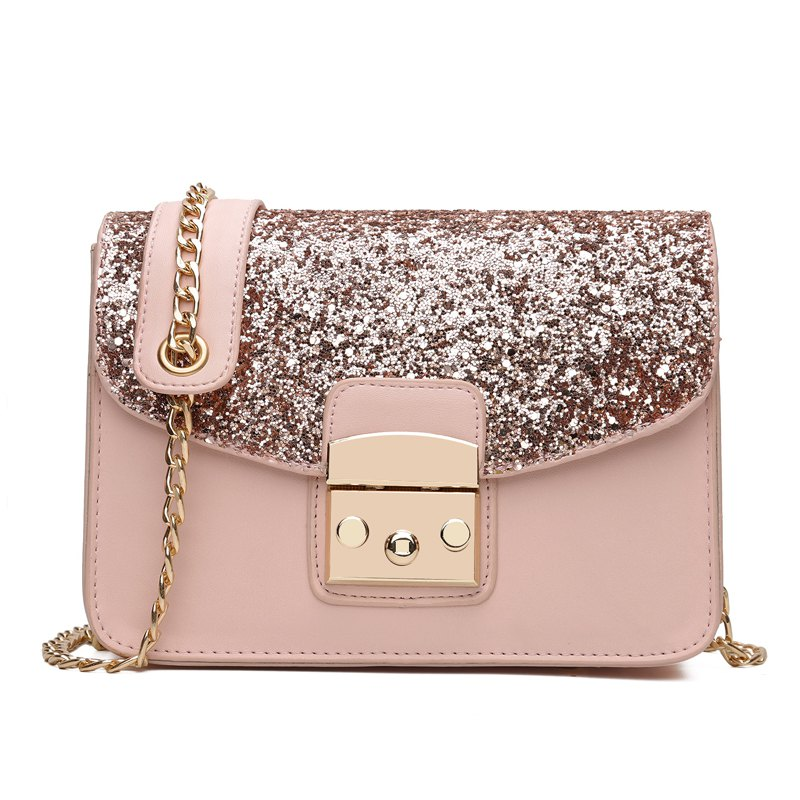 Chic Sequined Handbag Shoulder Messenger Bag Chain Small Square Package