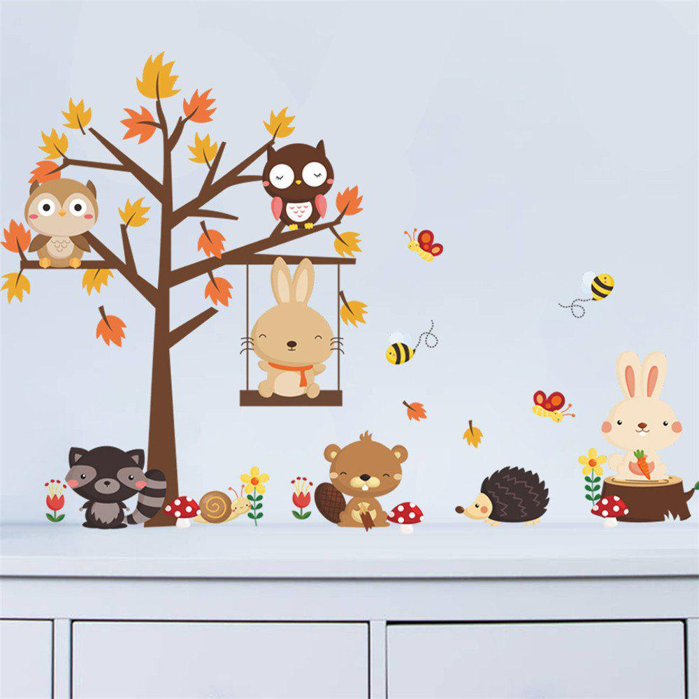 44% OFF] Cartoon Owl Tree Wall Stickers Childrens Room Kindergarten ...
