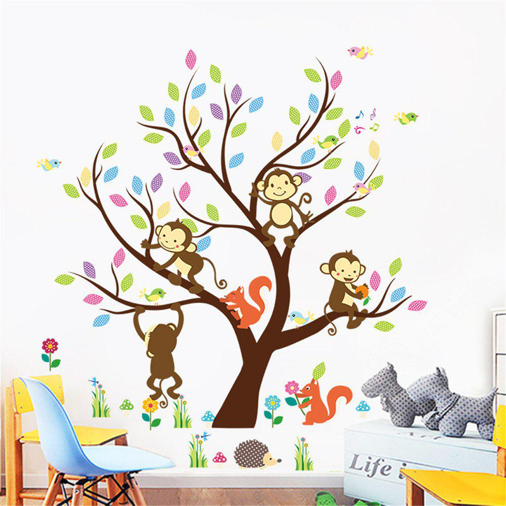 2018 Owl Tree Branches Monkey Wall Stickers Cartoon Childrens Room