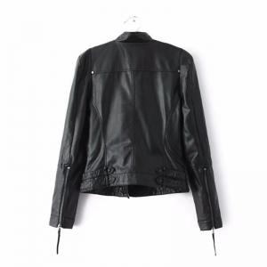 Women PU Motorcycle Basic Chic Zippers Long Sleeve Jackets -