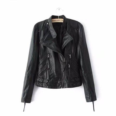 Buy Women PU Motorcycle Basic Chic Zippers Long Sleeve Jackets