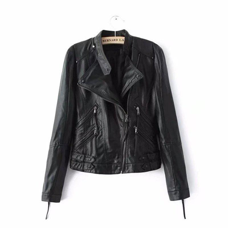 Fashion Women PU Motorcycle Basic Chic Zippers Long Sleeve Jackets