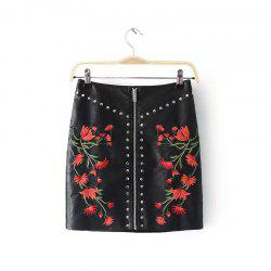 Embroidery PU Leather Skirt -