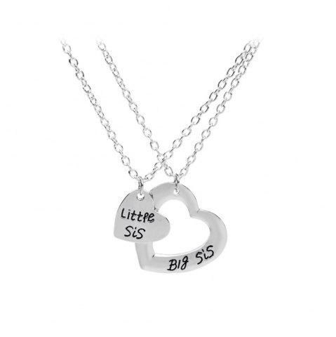 Silver 925 silver plated love heart big little sister pendant latest 925 silver plated love heart big little sister pendant necklace aloadofball Image collections