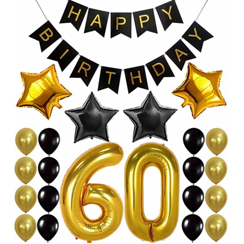 60th Birthday Party Decorations Kit С Днем Рождения Banner Gold Number Balloons Perfect 60 Years Old Party Supplies