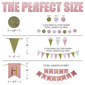 Pink Gold Cream Birthday Party Decoration Set Paper Flowers and Lanterns Paper Garland Glittering Triangle Bunting -