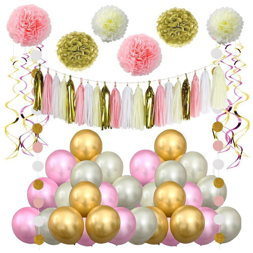 Discount Pink Gold Party Decorations Balloons Paper Flowers Garland Hanging Swirl For 1ST Birthday Girl Decor
