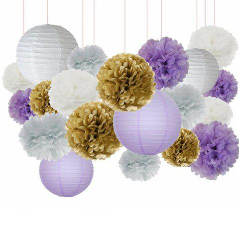 Chic 20PCS White Purple Gold Tissue Paper Pom Poms Lanterns Mixed Package for Bridal Shower Baby Shower Home Decoration