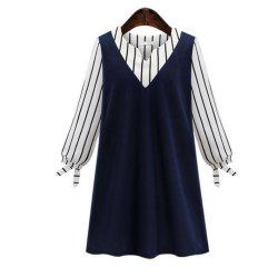 Plus Size Striped Long Sleeve Splicing Dress -