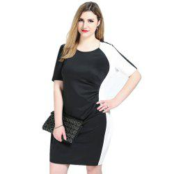 Cute Ann Women's Sexy Short Sleeve Black And White Blocked Plus Size Pleated Dress -
