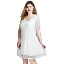 Cute Ann Women's Sexy V-neck Short Sleeve Plus Size Lace Swing Dress -