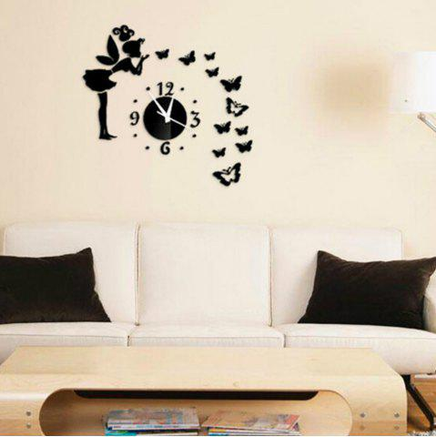 Fashion 3D Angel Clock Design Frameless Large Wall Clock Diy Home Decoration